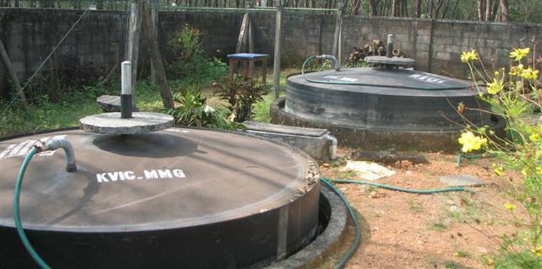 Установка для получения биогаза на мини ферме.